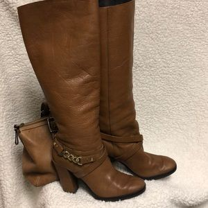 Kate Spade 5.5 boots leather gold chain